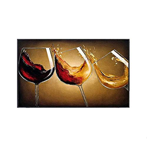 (Modern Minimalist Decorative Oil Painting, Restaurant Wall Painting, Creative Wine Glass Mural,B-50x70cm)