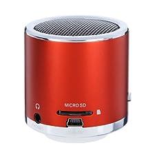 Kingzer Mini enceinte Lecteur MP3/Micro SD/TF son amplificateur Audio Rouge