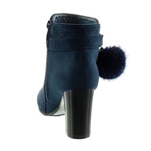 Angkorly - Zapatillas de Moda Botines cavalier mujer pompom piel tanga Talón Tacón ancho alto 8 CM - plantilla Forrada de Piel Azul