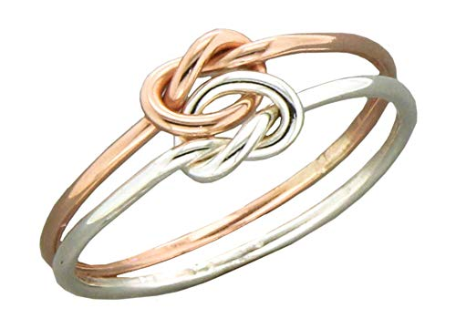 Sterling Silver and 12 Karat Rose Gold Filled Medium Gauge Double Love Knot Ring (size 09)