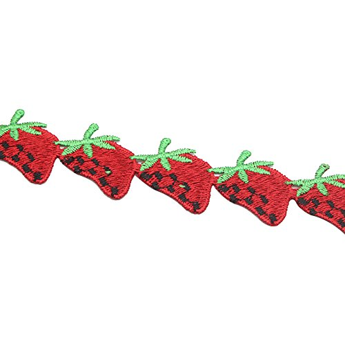 2y/lot Fruit Strawberry Lace Ribbon Embroidered Lace Trim Fabric DIY Sewing Materials (Type 2 Strawberry)