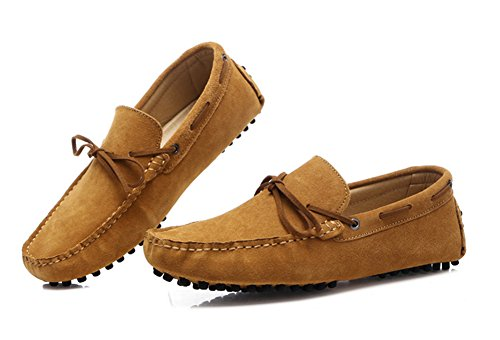 Aisun Menns Trendy Semsket Skinn Loafers Lys Brun