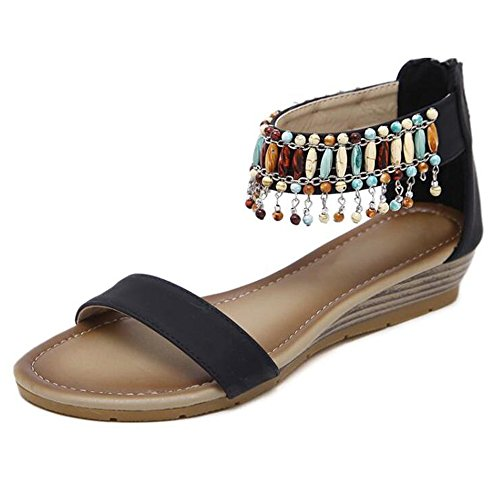 Sandals XIAOLIN Summer Slope Heel Female Beaded Ethnic Style Mid-heeled Shoes Travel Vacation Comfortable Heel Height 3cm(Optional Size) (Color : 03, Size : EU38/UK5.5/CN38) 03
