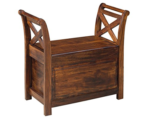 Ashley Furniture Signature Design - Abbonto Accent Bench - Multitonal Rustic Finish - Warm Brown (Bench Wood Small Storage)