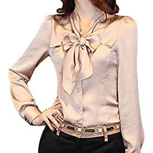 JHVYF Women's Bow Tie Neck Blouses Long Sleeve Casual Work Office Polyester Blouse Shirts Tops