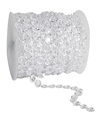 Yansanido 99 Feet 33 Yards 30.17m Clear Crystal Like Beads By the Roll for Wedding Home Room Light Toy Cake Decorations, 1roll