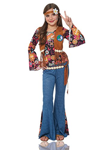Girl's Peace Out Hippie Costume - -
