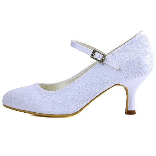 Picture of ElegantPark Women Mary Jane Pumps Closed Toe Mid Heel Lace Wedding Bridal Shoes