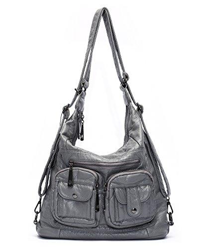 - Mlife Soft Washed Leather Women Shoulder Bag Hobo Backpack (Grey)