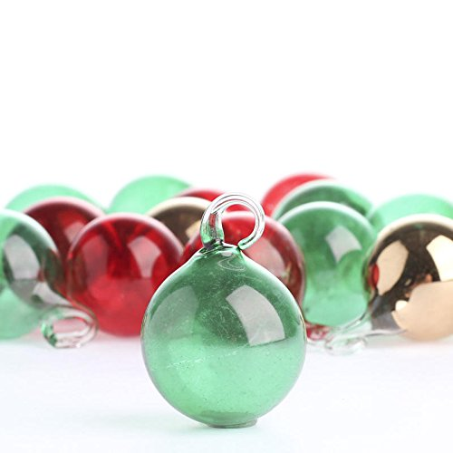 Factory Direct Craft Package of 36 Delicate Assorted Color Blown Glass Ball Ornaments for Tree Trim, Package Embellishments and Displaying - Decorated Glass Ball Ornaments