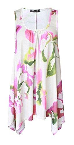 Boutique - Camisa sin mangas para mujer, con dobladillo y acampanada, disponible en tallas grandes Crema Floral