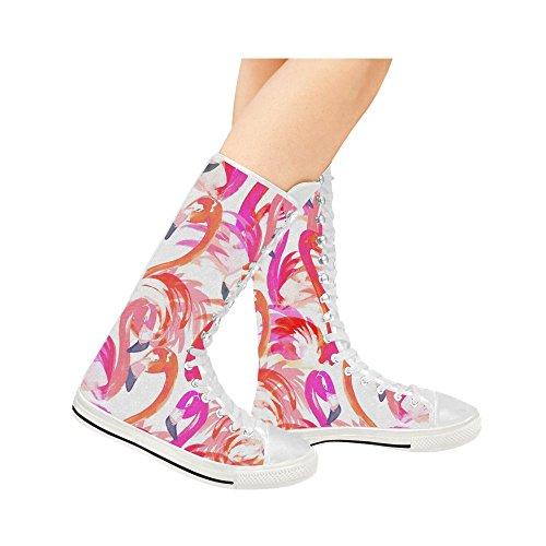 D-histoire Flamingo Lace Up Tall Punk Toile De Danse Longues Bottes Sneakers Chaussures Pour Femmes