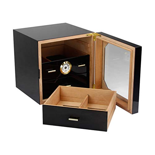 $261.39 cuban crafters humidor Cigar Humidor Desktop Cigar Box, Large Capacity Can Accommodate 100 Cigar Glass Sunroof Cedar Wood Lining, Humidifier and Hygrometer Cigar Cabinet, Professional Storage Cigar Box Men's Gift Box Wood L 2019