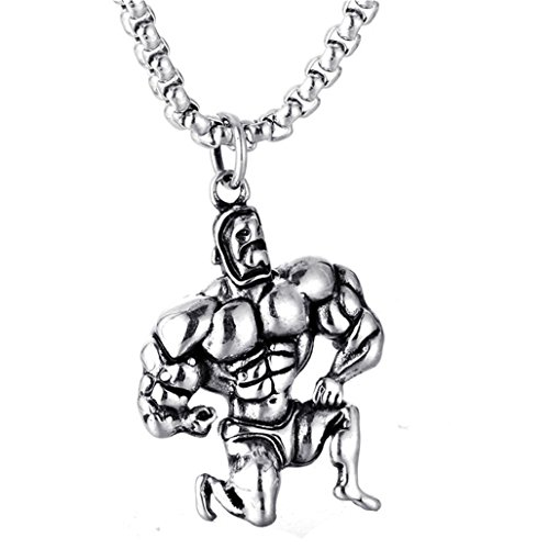 XIMAKA Stainless Steel Fitness Muscle Pendant Bodybuilding Wrestling Pendants Necklace with 24'' Chain by XIMAKA
