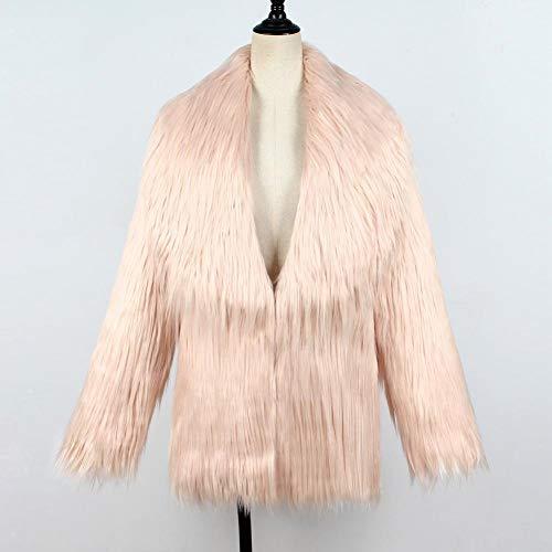 sintética de Shaggy Piel Chaqueta Abrigo Sintética e Mujer Beige Faux Coat Outwear Biback Abrigada Abrigo Chaqueta Una Mujeres Fur Otoño Mujer Invierno InviernoF0001 Piel aq10Z