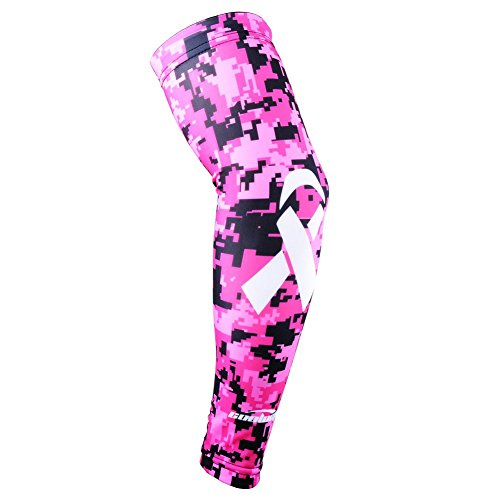 COOLOMG (1 Piece) Ribbon Breast Cancer Awareness Arm Sleeve Basketball Baseball Football Youth Adult Pink S