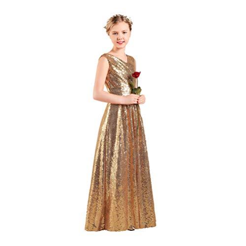 Long Junior Bridesmaid Dress Sequin Flower Girl Dress Gold Formal Wedding Party Pageant Maxi Dress Dance Ball Gown 8t]()