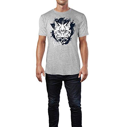 SINUS ART ® Luchs im Street Style Herren T-Shirts in hellgrau Fun Shirt mit tollen Aufdruck