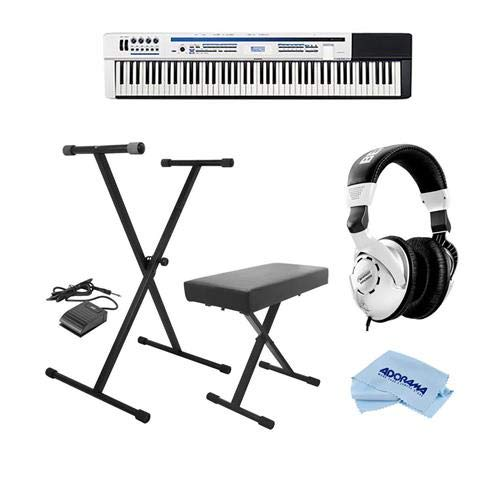 Casio PX-5S Privia 88-Key Pro Digital Stage Piano - Bundle With On-Stage KPK6520 Keyboard Stand/Bench Pack with Sustain Pedal, Behringer HPS3000 High-Performance Studio Headphones, Microfiber Cloth by Casio