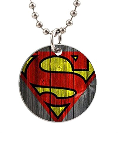Wooden Superman Pattern Designed Round Dog Tag Cat Tag Necklace