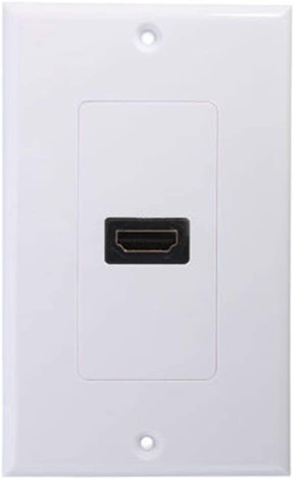 Blanc Hdmi Lead Wall Plate Full Hd 1080p Tv Cable Faceplate Socket Connector White