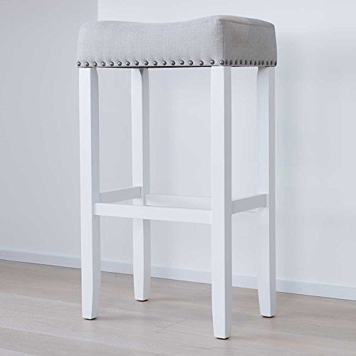 "Nathan James 21401 Hylie Nailhead Wood Pub-Height Kitchen Counter Bar Stool, 29"", Gray/White"
