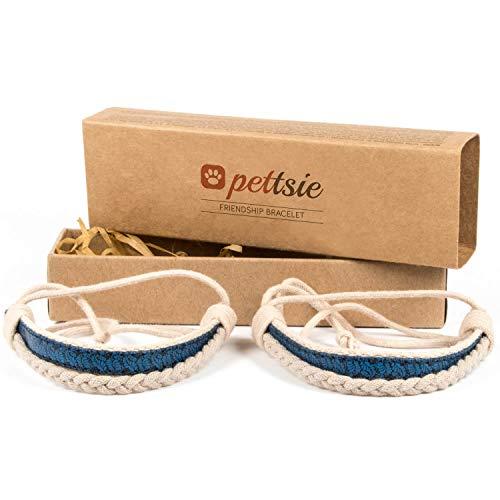 Pettsie Matching Friendship Bracelets, 2 Pack Set, Easy Adjustable, 100% Cotton and Hemp (Blue)