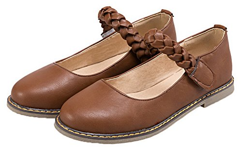 Allhqfashion Womens Pu Solid Hook-and-loop Scarpe Décolleté Décolleté Tacco Basso Marrone