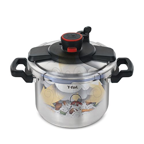 T-fal P45007 Clipso Stainless Steel Dishwasher Safe PTFE PFOA and Cadmium Free 12-PSI Pressure Cooker Cookware, 6.3-Quart, Silver by T-fal (Image #1)