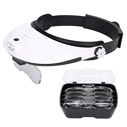 Head-Mounted Headband Magnifier Detachable Light Source Box with 2 LED Interconvertible 5 Different Magnification Lenses Reading Magnifying Glasses ()