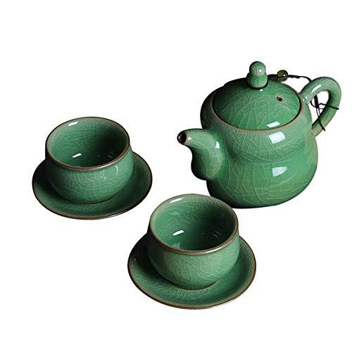 - mqlerry Teapot Ceramic Teapot Ceramic Teapot, Tea Set, Celadon, Teapot, Gourd, Pot, Ice, Crack, One Pot, Two Cups,A