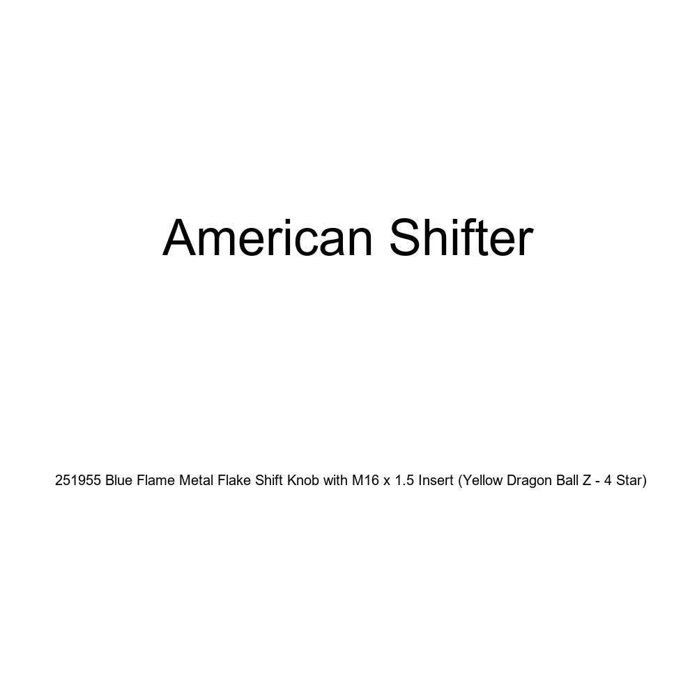 Yellow Dragon Ball Z - 4 Star American Shifter 251955 Blue Flame Metal Flake Shift Knob with M16 x 1.5 Insert