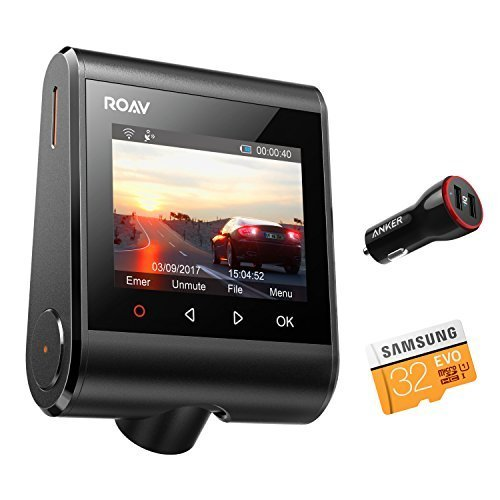 """Roav by Anker Dash Cam C1 Pro, 2K Resolution 2560X1440, Built-in GPS/WiFi, 2.4"""" LCD, 4-Lane Wide-Angle View Lens, G-Sensor, WDR, Loop Recording, 2-Port Charger, 32G microSD Card, Easy Sharing"""