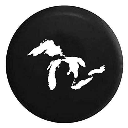 Cover Tire State (State of Michigan Great Lakes Spare Jeep Wrangler Camper SUV Tire Cover White Ink 33 in)