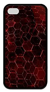 iPhone 4s Cases, iPhone 4s Case - Red Hex TPU Silicone Case Cover for iPhone 4 and iPhone 4s - Black