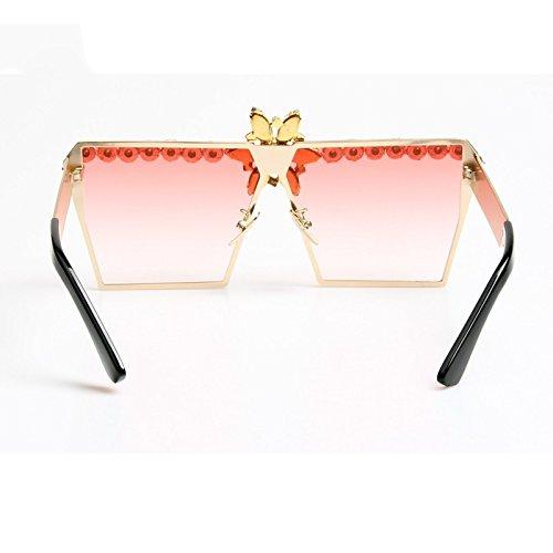 De Lujo Gafas De Vintage Uv400 TIANLIANG04 Gradiente Sol De Rosa pink Sobredimensionados Sunlgasses Strass Gafas UFPqZ1I