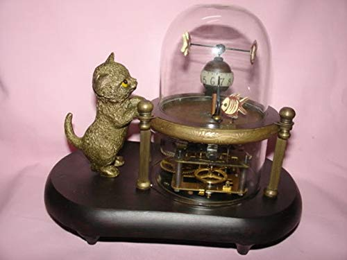 BeesClover Rare Works Wonderful Fish-Pot Glass Machine Clock with Cute cat 7.5# Copper Tools Wedding Decoration Brass Show by BeesClover (Image #1)
