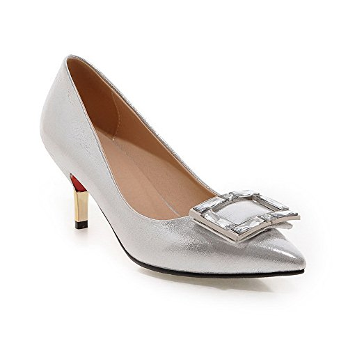 BalaMasa Womens Slip-On Kitten-Heels Solid Patent Leather Pumps-Shoes Silver e3EzX