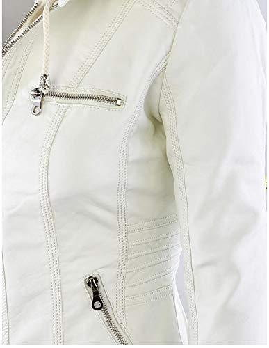 Lncluso 002 Mujer Sombrero Cremallera Chaqueta s Cuero Corto Cosiendo Tamaño Ropa Abrigo Grande Párrafo De Xsqr Hq6wBYT