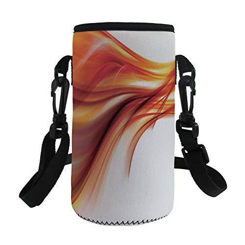 iPrint Small Water Bottle Sleeve Neoprene Bottle Cover,Contemporary Abstract Smooth Lines Blurred Smock Art,fit for Stainless Steel/Plastic/Glass Bottles by iPrint