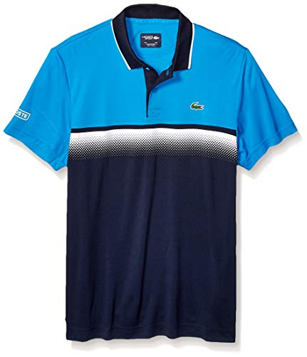 (Lacoste Men's Sport Short Sleeve Ultra Dry Gradient Print Polo, PRATENSIS/Navy Blue/White, Small)
