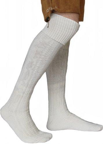 EXTRA Lange Trachtensocken Strümpfe Trachtenlederhose Socken aus Wolle Natur 75cm, Größe:43-46