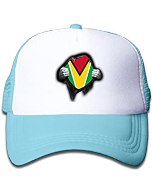 Guyana Flag Proud On Children's Trucker Hat, Youth Toddler Mesh Hats Baseball Cap