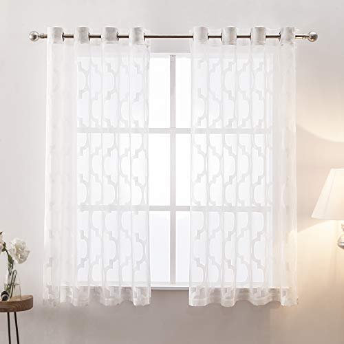 - Moss Moroccan Sheer Curtains Geometric Trellis Jacquard Grommet Voile Curtain Set for Living Room,52