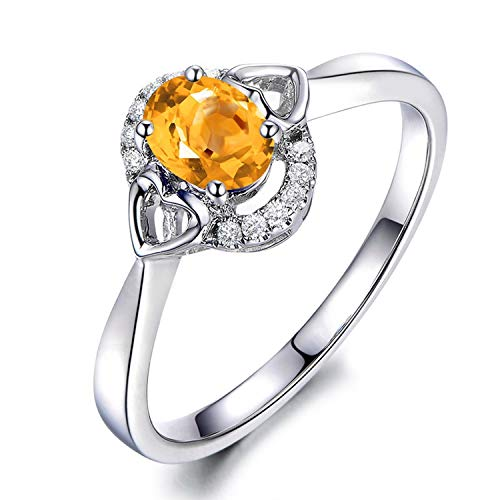 Gnzoe Jewelry-Women Ring Sterling Silveranniversary Rings Yellow Created-Citrine November Birthstone Size 8 ()