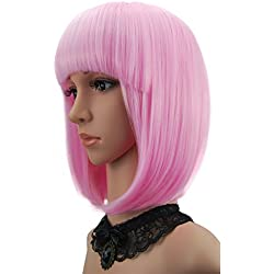 """eNilecor Short Bob Hair Wigs 12"""" Straight with Flat Bangs Synthetic Colorful Cosplay Daily Party Wig for Women Natural As Real Hair+ Free Wig Cap (Light Pink)"""