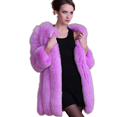 Wome Winter Coat Warm New Faux Fur Coat Outerwear Women's Fashion Fur Coat (L, Purple)]()