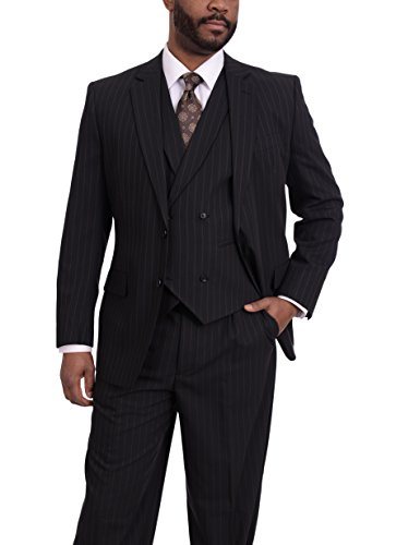 Steven Land Classic Fit Black With Brown Pinstripe Three Piece Wool Suit (Brown Pinstripe Wool Suit)