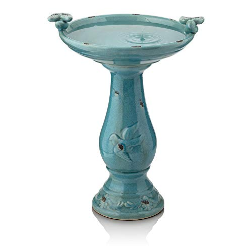 """Antique Style Distresed Gray Bird on Scroll Pedestal 7/"""" Tall"""