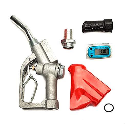 Fuel Gasoline Diesel Petrol Oil Delivery Gun 1'' Nozzle Dispenser & Flow Meter -